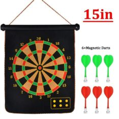 "Magnetic Dart Board Set Double Sided 15 "" inches Foldable With 6 Magnet Dart Needles"