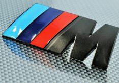 Black BMW M Badges Emblem Sticker Graphics Decal